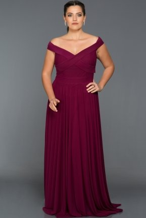 Long Plum Oversized Evening Dress AB1163