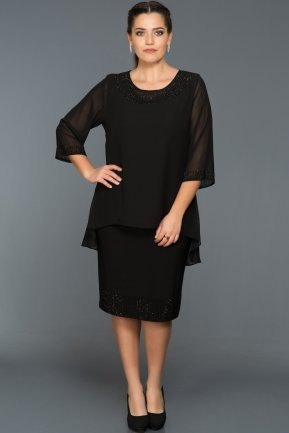 Short Black Oversized Evening Dress ABK002
