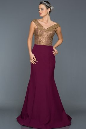 Long Plum Evening Dress AN2484