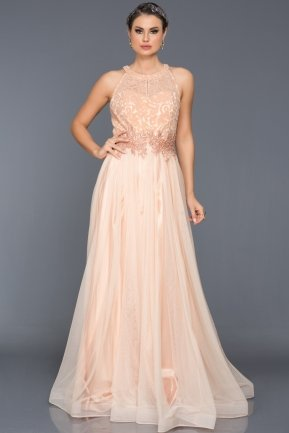 Long Salmon Evening Dress S4509