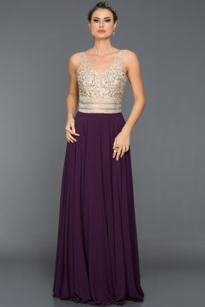 Long Plum Evening Dress ABU093