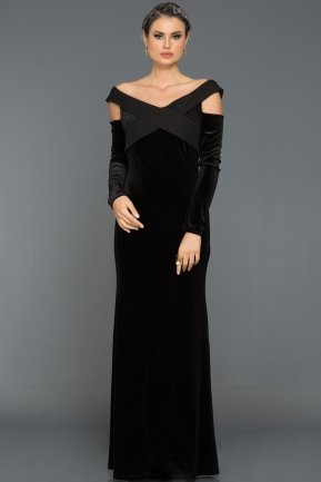 Long Black Velvet Evening Dress ABU492