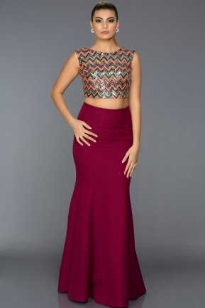 Long Plum-Orange Evening Dress C7211