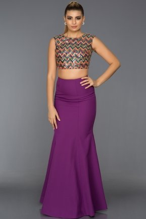 Long Orange-Purple Evening Dress C7211