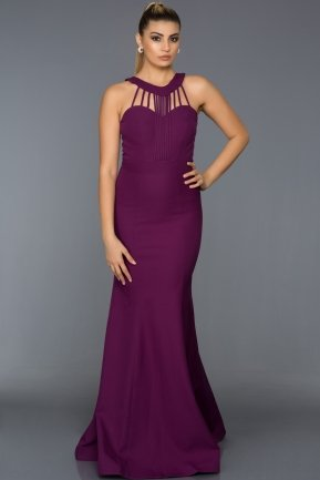 Long Violet Evening Dress C7302