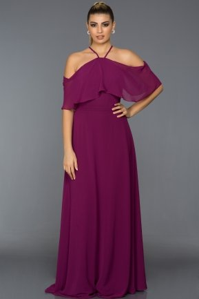Long Plum Evening Dress C7341