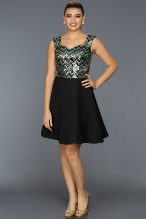 Short Emerald Green-Black Evening Dress C8105