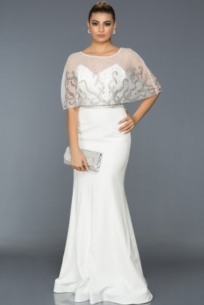 Long White Evening Dress S4390