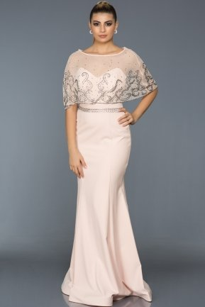 Long Salmon Evening Dress S4390