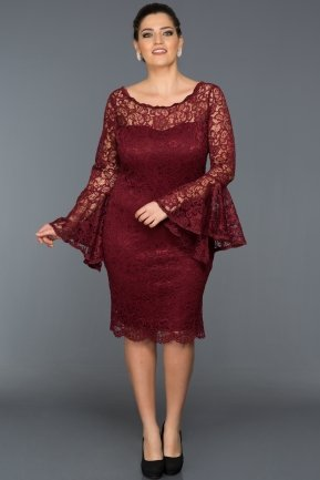 Short Burgundy Plus Size Dress AB38151