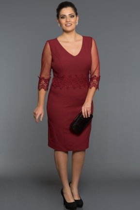 Short Burgundy Oversized Evening Dress AR36849