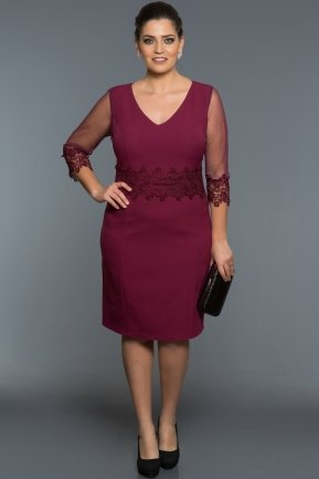 Short Plum Oversized Evening Dress AR36849
