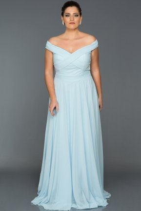 Long Ice Blue Oversized Evening Dress AB1163