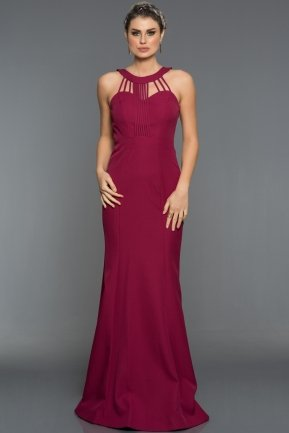 Long Plum Evening Dress C7302