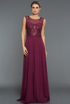 Long Plum Evening Dress C7344