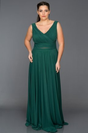 Long Emerald Green Oversized Evening Dress ABU004