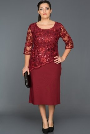 Burgundy Oversized Evening Dress ABK074