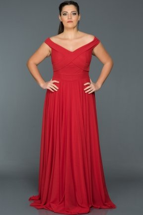 Red Long Oversized Evening Dress AB1163