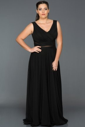 Long Black Oversized Evening Dress ABU004