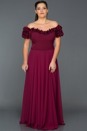 Long Plum Plus Size Dress ABU074