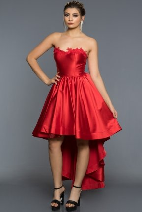 Front Short Back Long Red Evening Dress AN3081