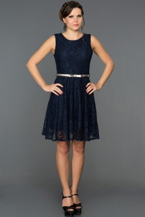 Short Navy Blue Evening Dress ABK028
