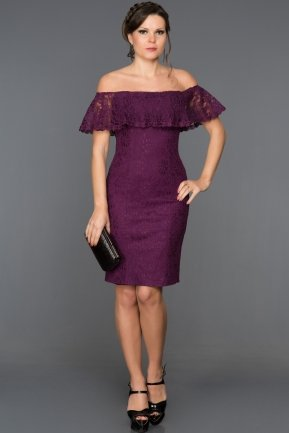 Short Purple Evening Dress ABK038