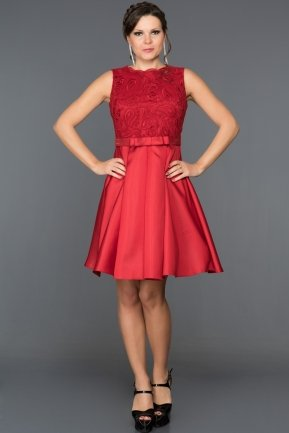 Short Red Evening Dress ABK045