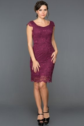 Short Plum Evening Dress ABK010