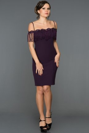 Short Purple Evening Dress DS457