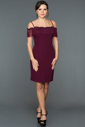 Short Plum Evening Dress DS457