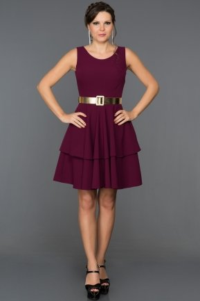 Short Plum Evening Dress DS486
