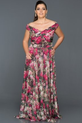 Long Fuchsia Plus Size Dress ANB6861