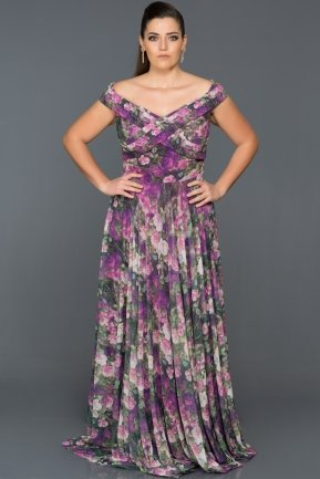 Long Purple Plus Size Dress ABU036