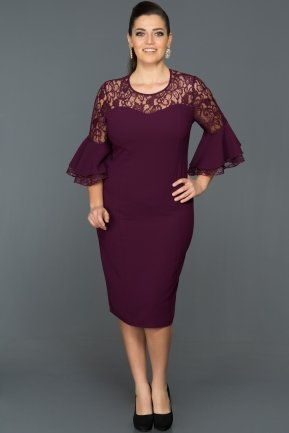 Short Purple Plus Size Evening Dress ABK081