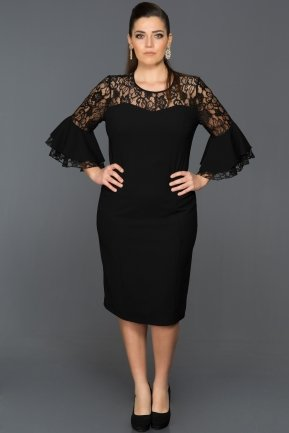 Short Black Plus Size Evening Dress ABK081