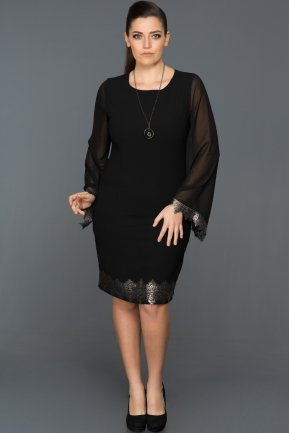 Short Black Plus Size Evening Dress ABK056