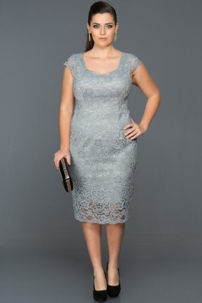 Short Grey Oversized Evening Dress AB209