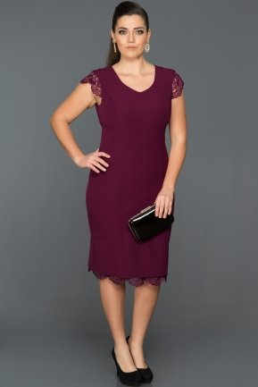 Short Purple Plus Size Evening Dress DS355