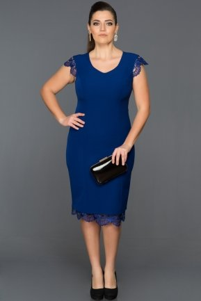 Short Sax Blue Plus Size Evening Dress DS355