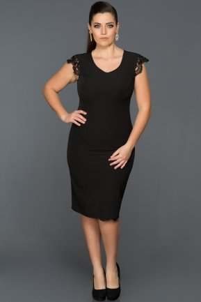 Short Black Plus Size Evening Dress ABK029