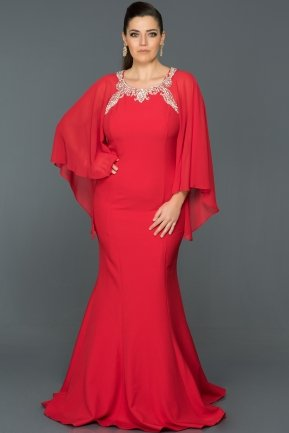 Long Red Plus Size Evening Dress S4552