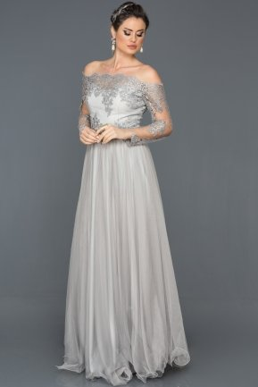 Long Grey Princess Evening Dress ABU019