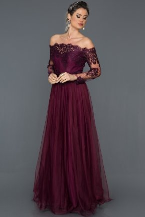Long Plum Princess Evening Dress AB621