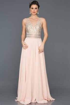 Long Salmon Evening Dress F259