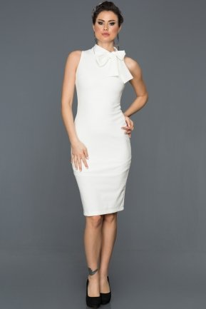 Short Ecru Evening Dress ES3790