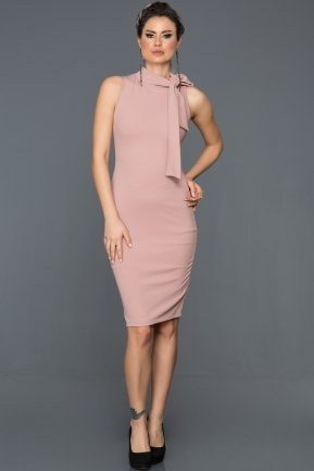 Short Rose Colored Evening Dress ES3790
