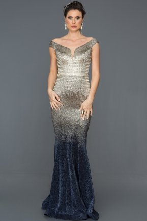 Long Navy Blue Mermaid Prom Dress ABU272