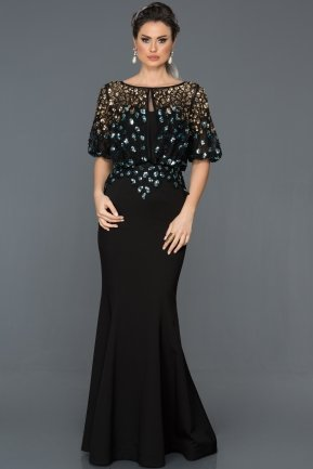 Long Black Oversized Mermaid Evening Dress ABU222