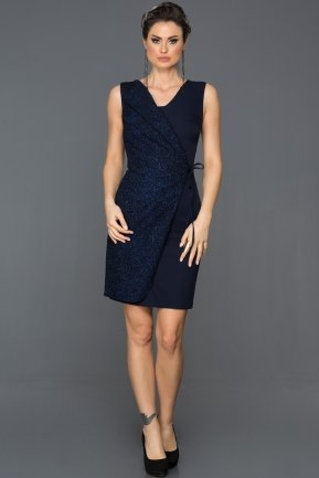 Short Navy Blue Evening Dress ABK007